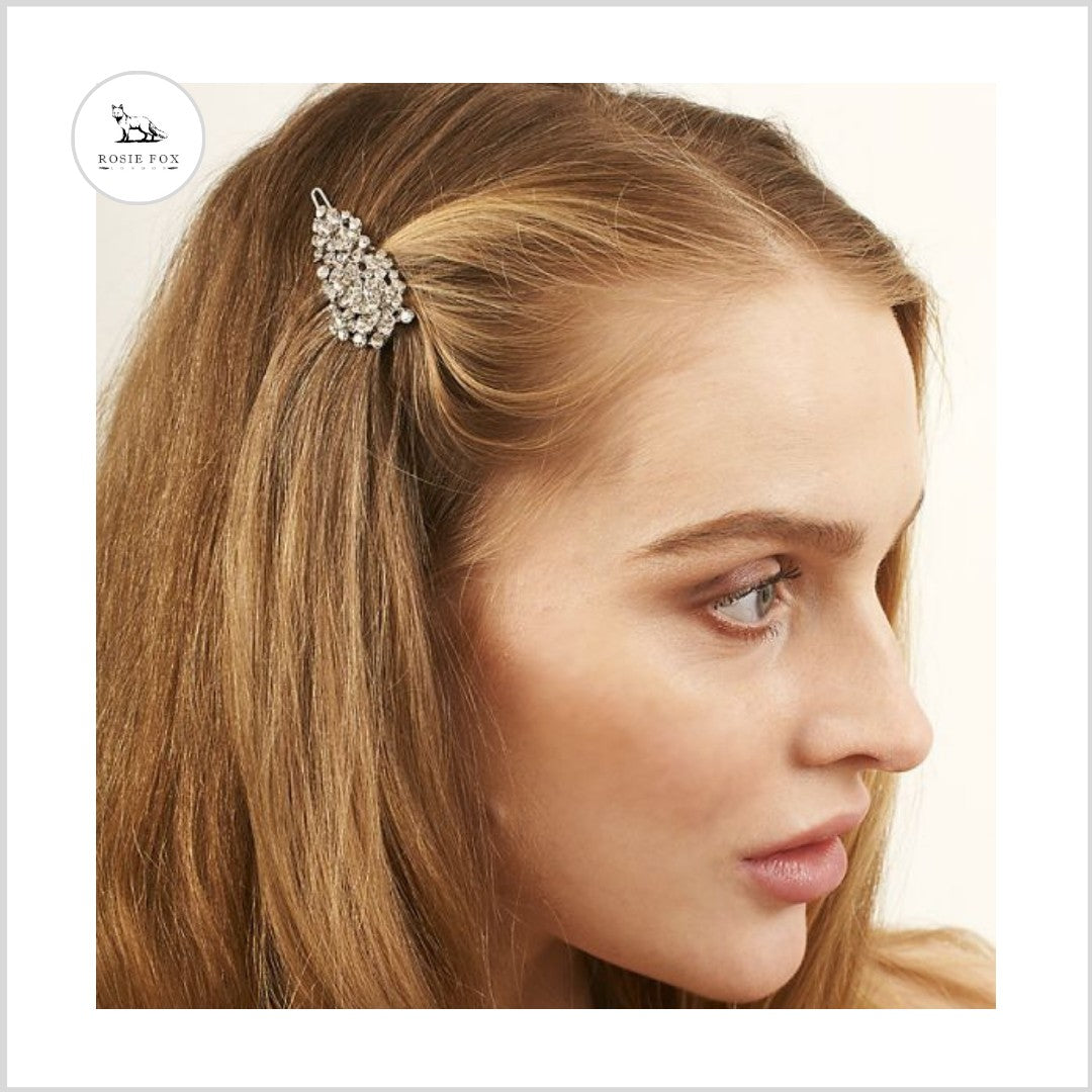 Silver Crystal Flower Hair Clip - Bohemian Finds
