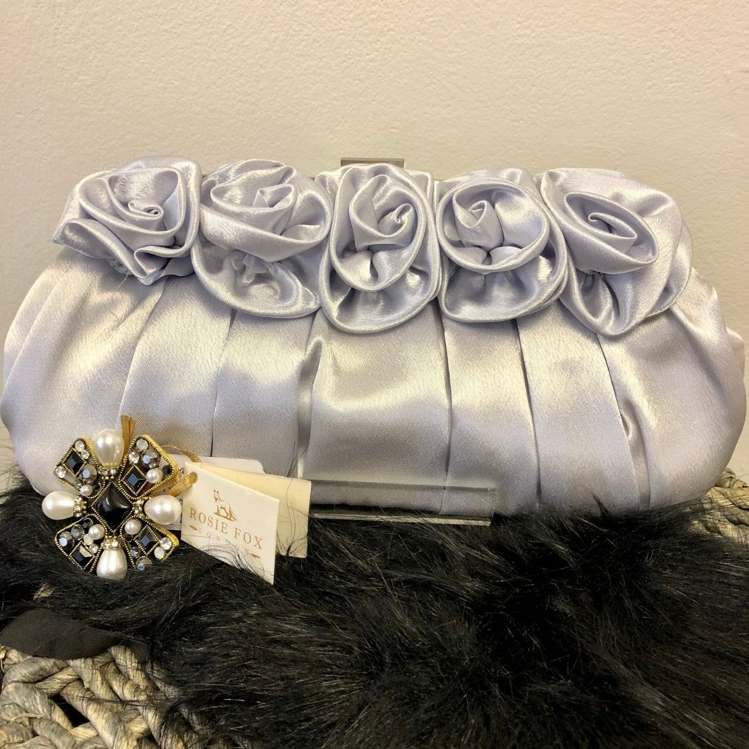 Silver Flower Satin Evening Clutch Bag - Bohemian Finds