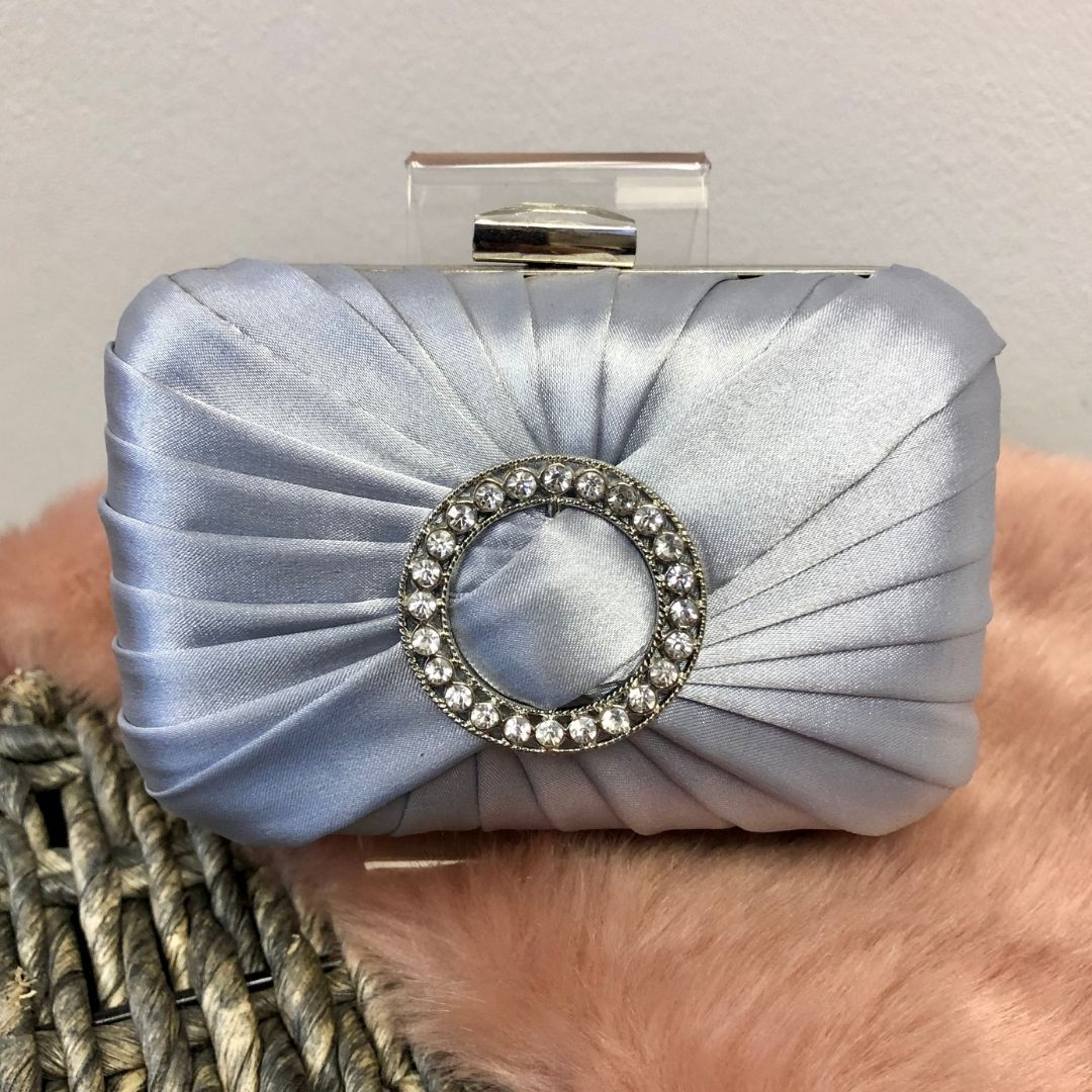 Silver Satin Rouched Brooch Hard Case Silver Evening Bag - Bohemian Finds