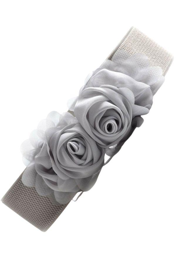 Stretch Flower Belt Grey - Bohemian Finds