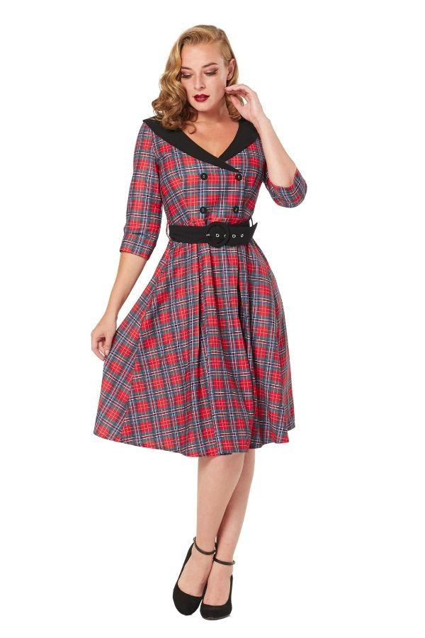Timeless 50s Raakel Red Tartan Swing Dress - Bohemian Finds