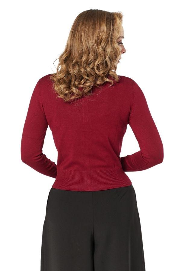 Timeless 9 Button Cardigan (Burgundy) - Bohemian Finds