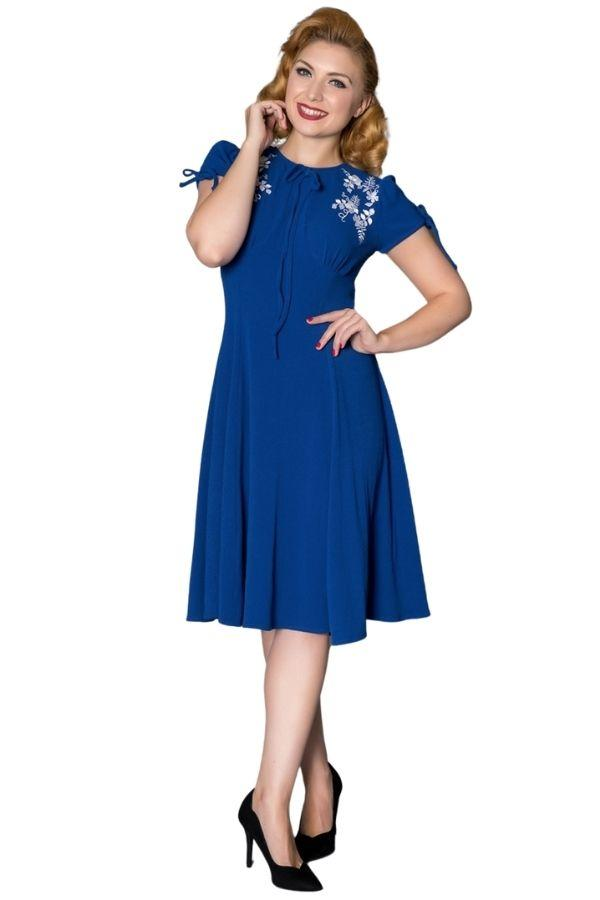 Timeless Ava WWII Inspired Blue Royal Blue Tea Dress - Bohemian Finds