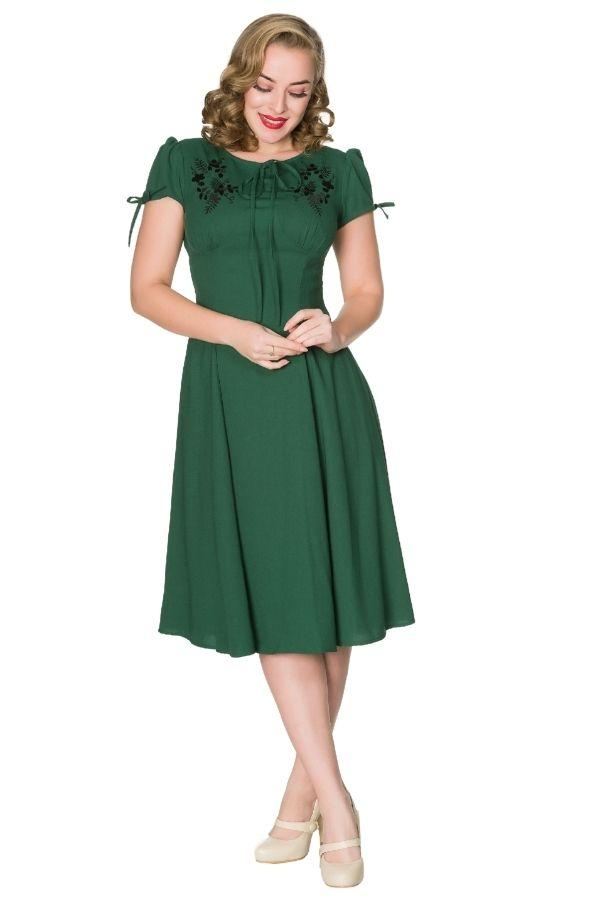 Timeless Ava WWII Inspired Bottle Green Tea Dress Timeless London