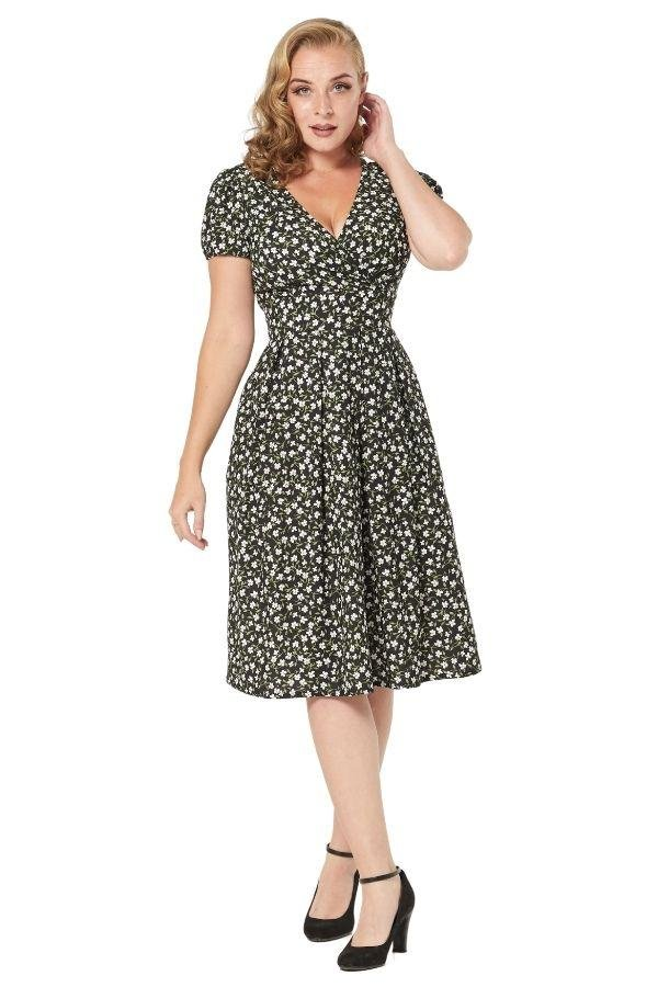 Timeless Emani 40's WWII Inspired Floral Tea Dress - Bohemian Finds