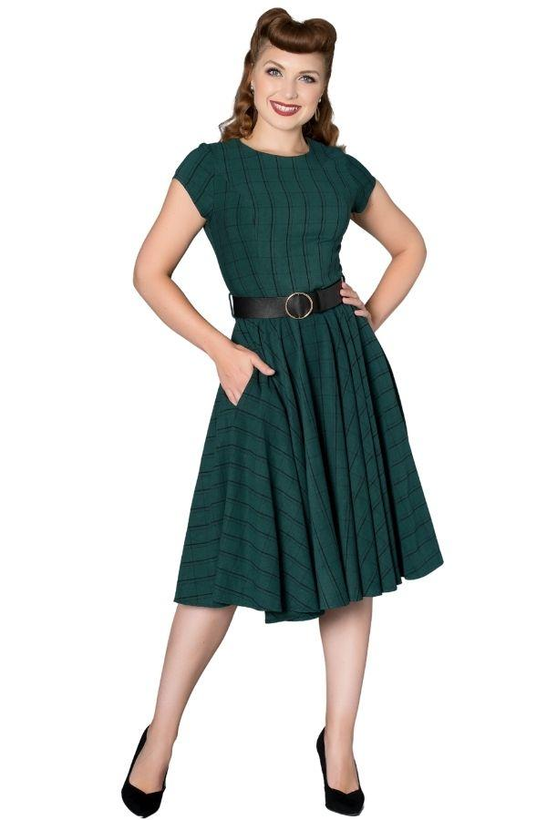 Timeless Florence Green 50s Vintage Inspired Dress Timeless London