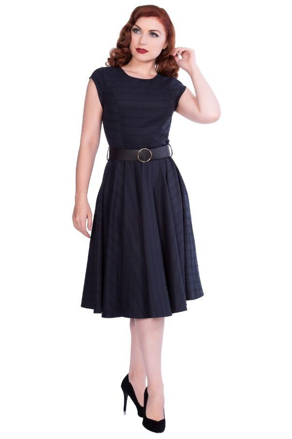 Timeless Florence Navy 50s Vintage Inspired Dress - Bohemian Finds