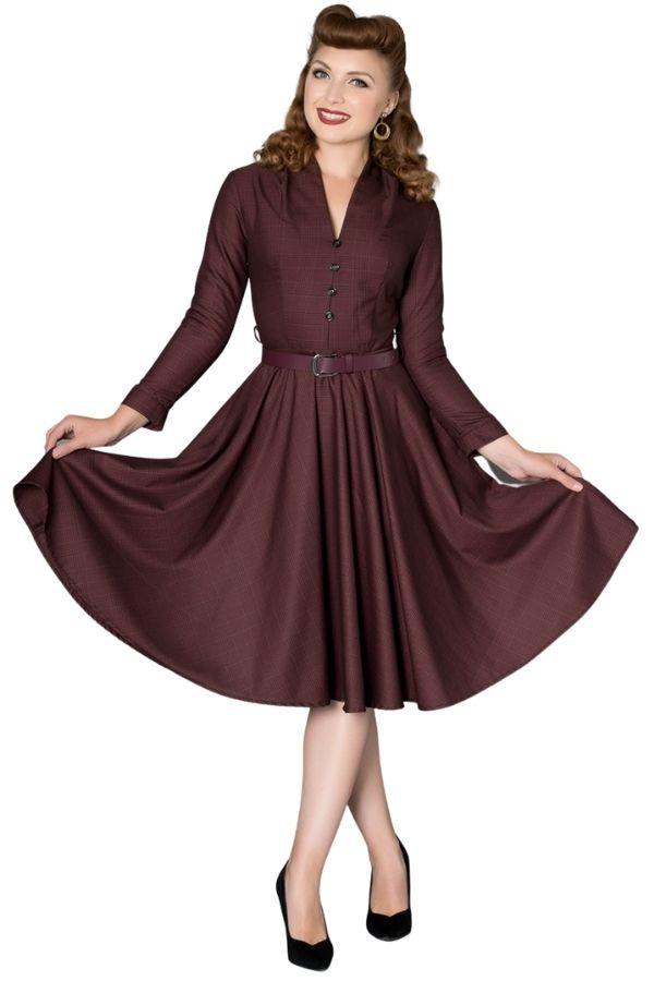 Timeless Helena Burgundy 50s Dress - Bohemian Finds