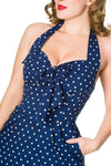 Timeless Lyric Navy Polka Dot Wiggle Dress - Bohemian Finds