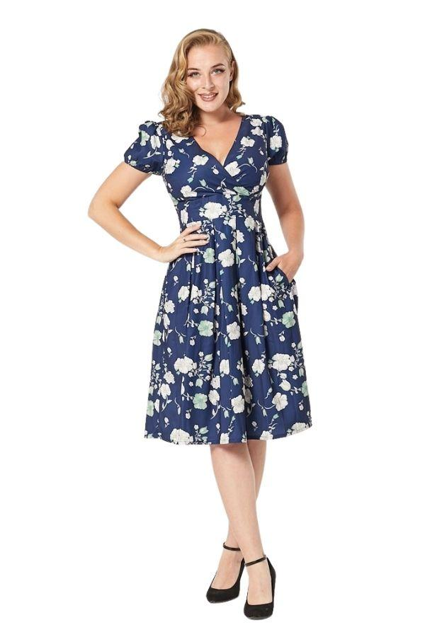 Timeless Nikita 40's WWII Floral Tea Dress - Bohemian Finds