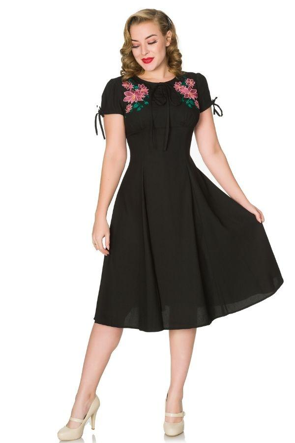 Timeless Noa WWII Inspired Black Tea Dress - Bohemian Finds