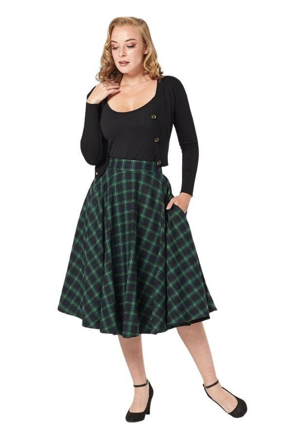 Timeless 40s Sophie Green Forest Check Skirt - Bohemian Finds