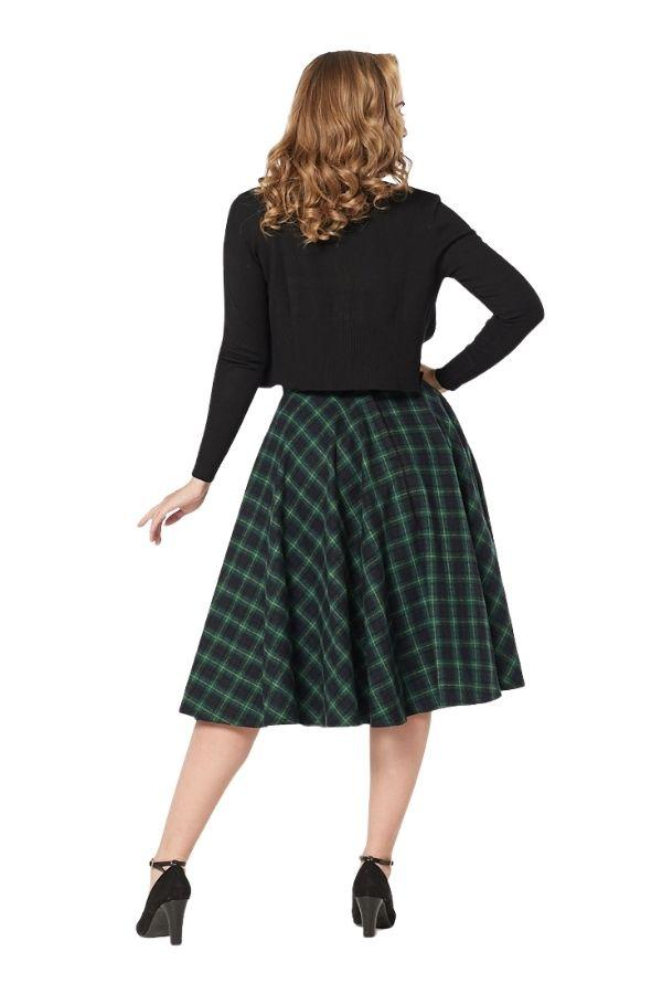Timeless Sophie Green Forest 50s Check Skirt - Bohemian Finds