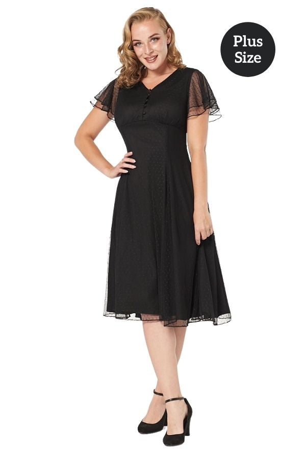 Timeless 40s 50s Mariah Black Lace Dress - Bohemian Finds