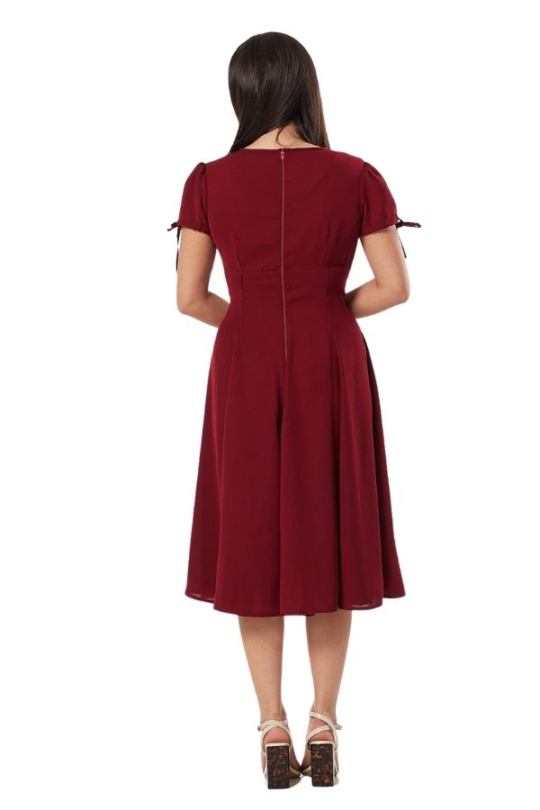 Timeless Ava WWII Inspired Burgundy Tea Dress - Bohemian Finds