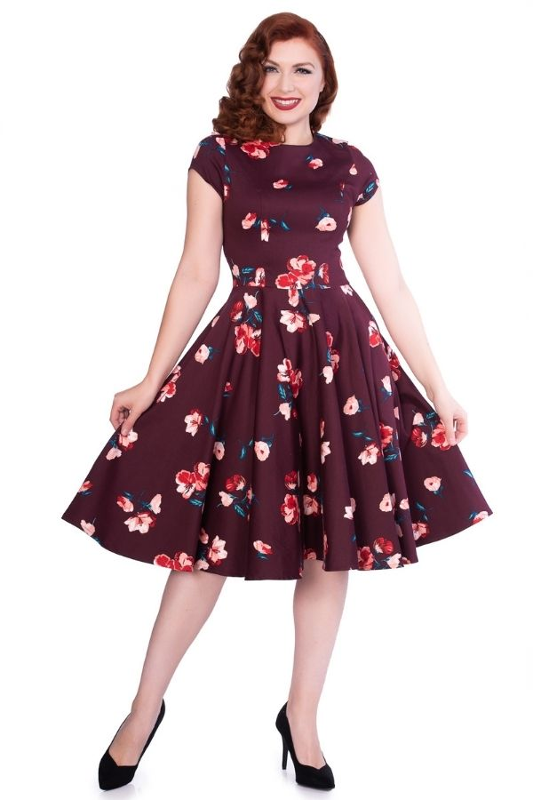 Timeless 50s Abigail Burgundy Floral Swing Dress - Bohemian Finds