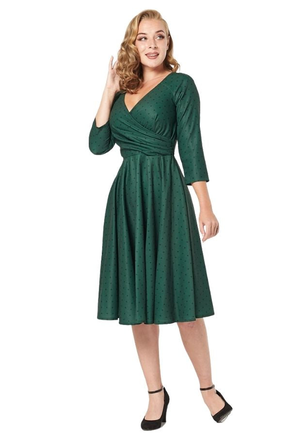 Timeless 50s Genevieve Polkadot Swing Dress - Bohemian Finds
