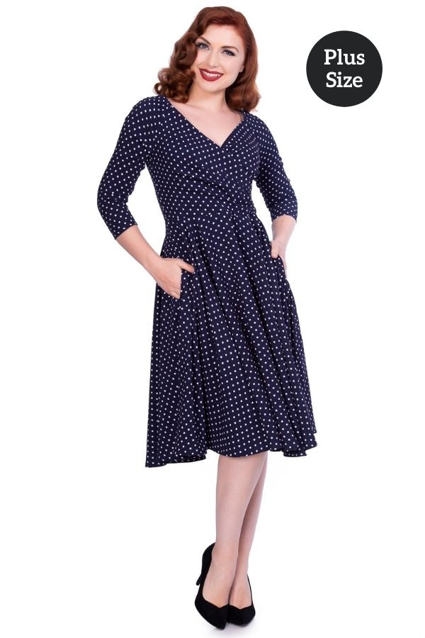 Timeless 50s Katherine Polkadot Swing Dress in Navy/White - Bohemian Finds