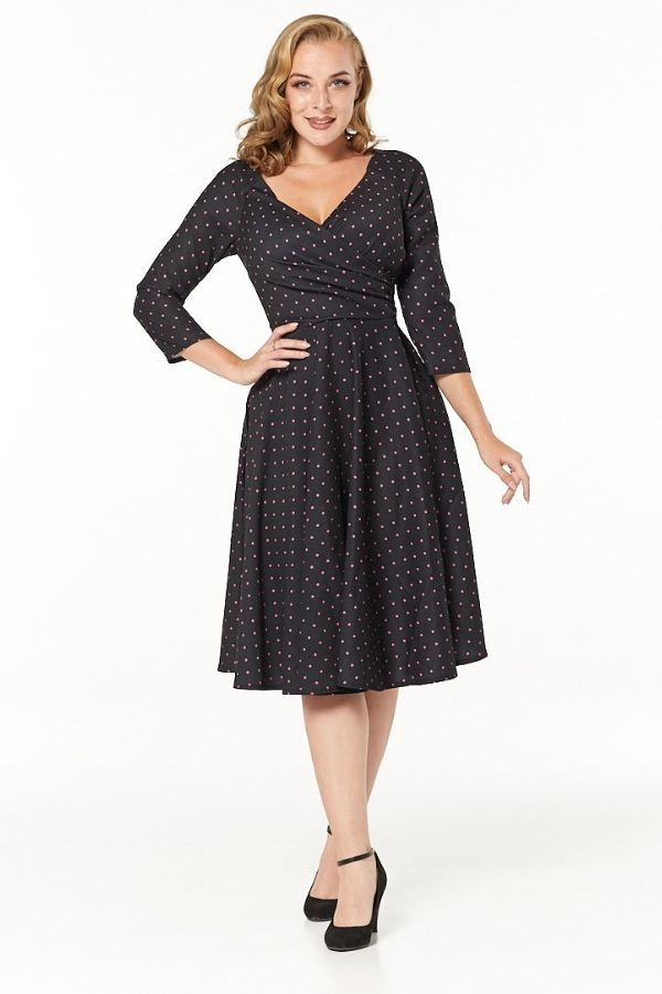 Timeless 50s Katherine Polkadot Swing Dress in Black/Pink - Bohemian Finds