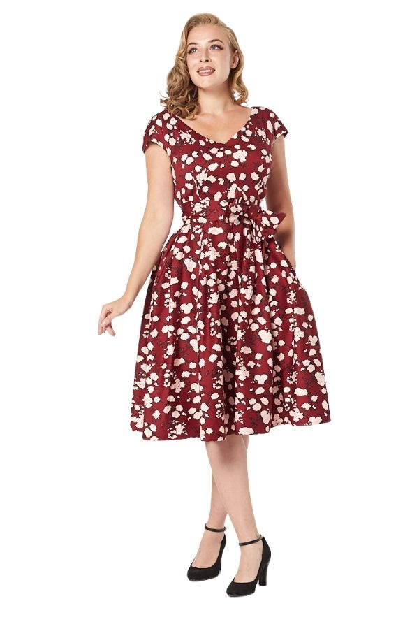 Timeless 50's Kav Floral Swing Dress in Burgundy - Bohemian Finds