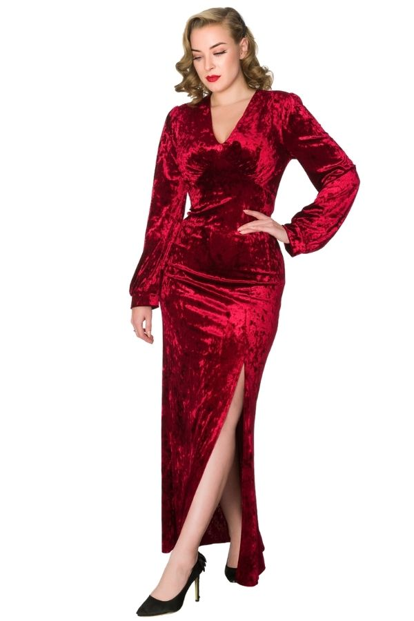 Timeless Miley Red Crush Velvet Evening Gown - Bohemian Finds