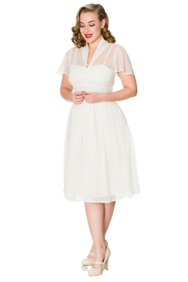 Timeless 40s Naomi Lace 40's Swing Dress White - Bohemian Finds