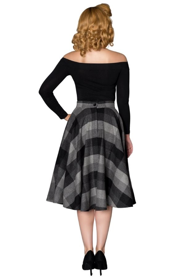 Timeless 40s Sophie Wool Check Skirt in Grey/Black - Bohemian Finds