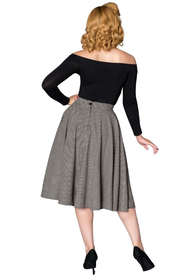 Timeless 40s Sophie Houndstooth Woolen Grey Skirt - Bohemian Finds