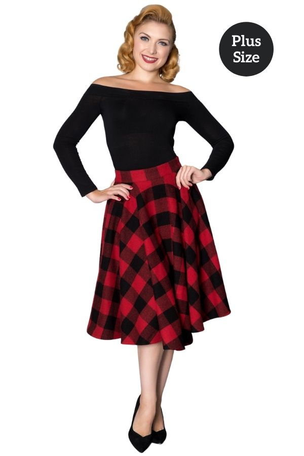 Timeless 40s Sophie Wool Check Skirt in Red/Black - Bohemian Finds
