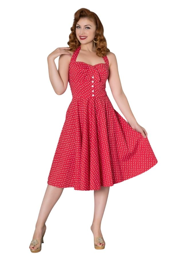 Timeless Xandria 50s Ditsy Red Floral Sun Dress - Bohemian Finds