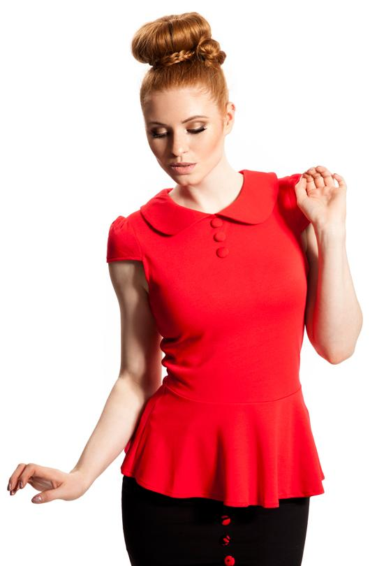 VOODOO VIXEN - Red Peter Pan Peplum Top - Bohemian Finds