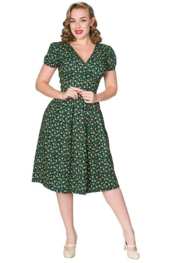 Valentina WWII Inspired Floral Tea Dress Timeless London
