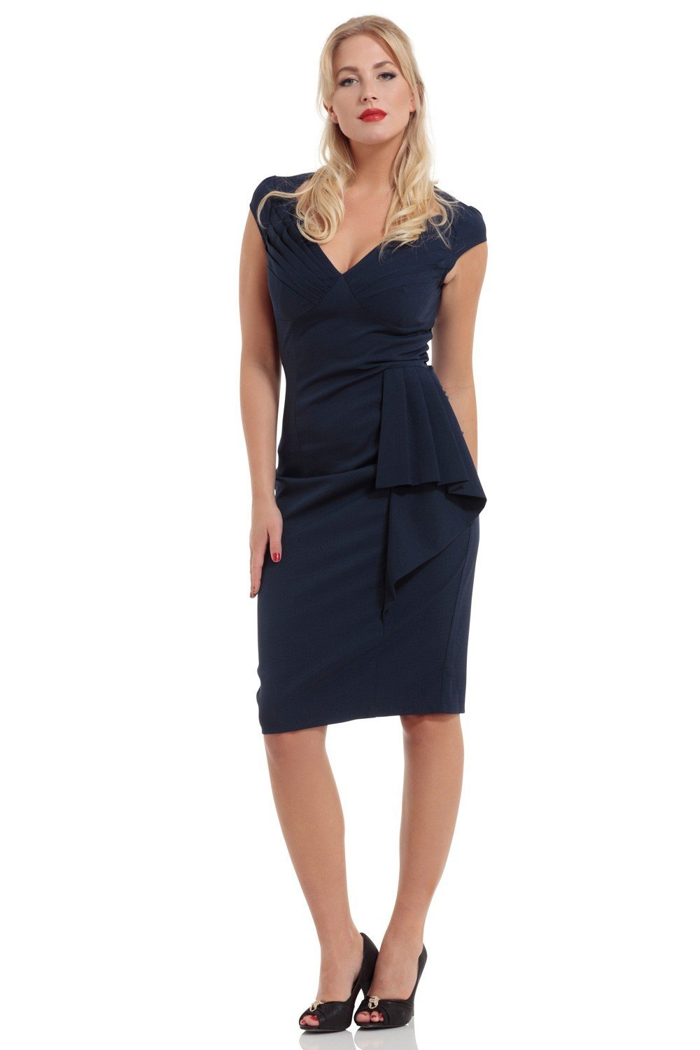 Voodoo Vixen Khloe Pencil Dress (Blue) - Bohemian Finds