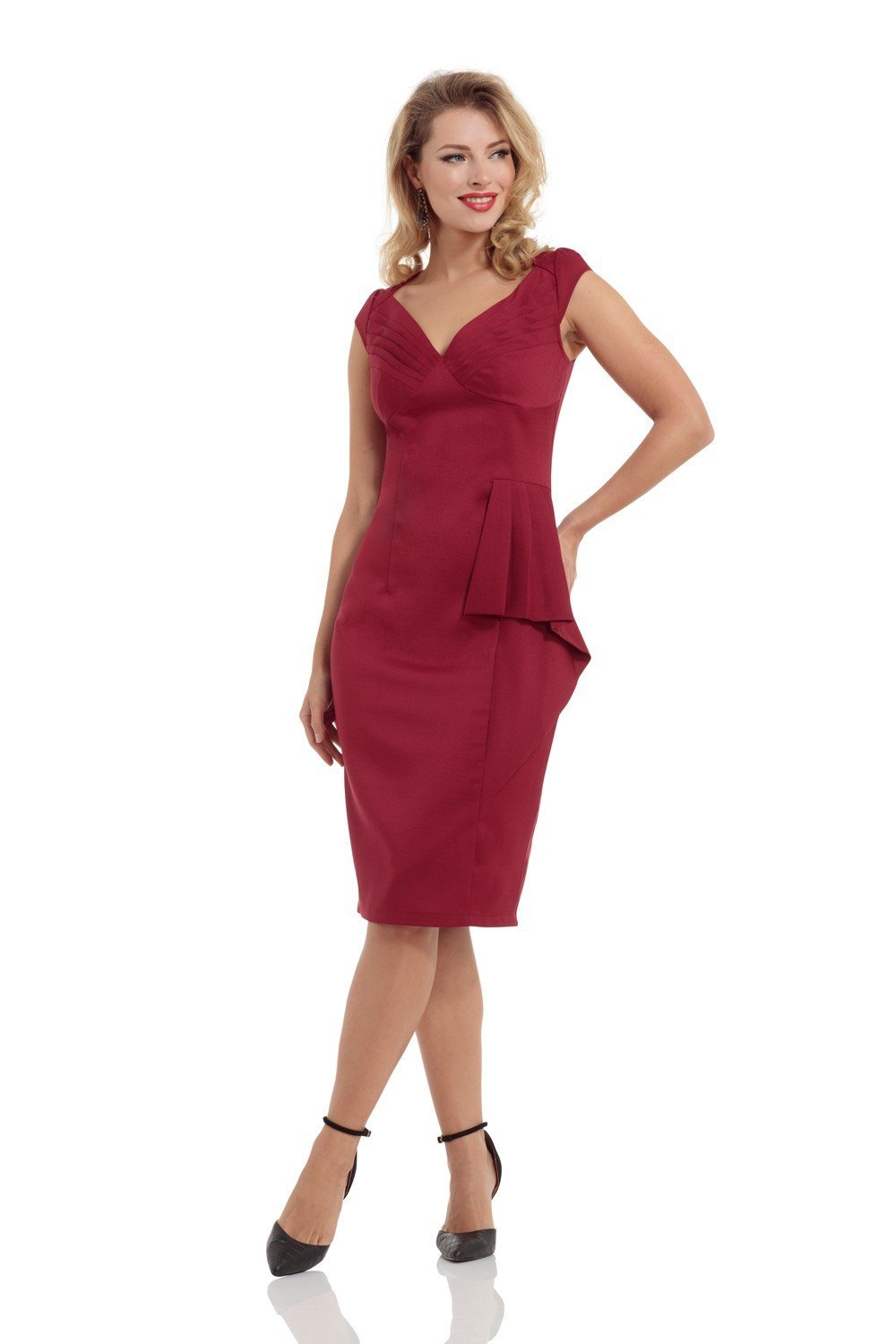 Voodoo Vixen Khloe Pencil Dress (Burgundy) - Bohemian Finds