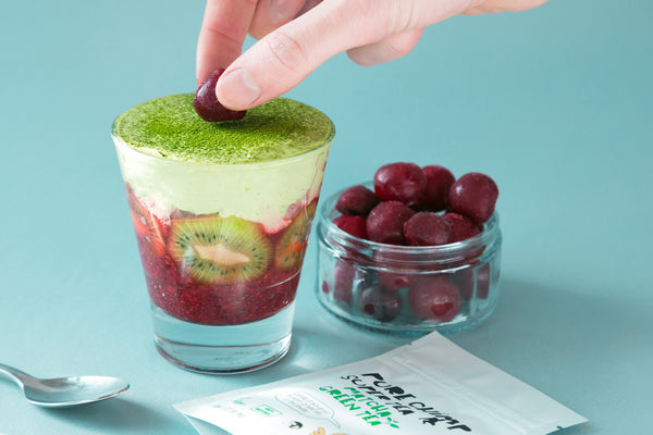 Cherry Chia Seed Jam with Matcha Cream