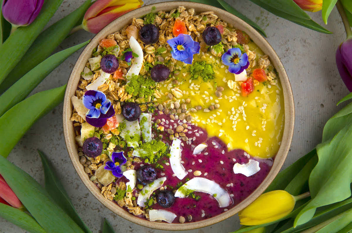 Mango & Blueberry Matcha Smoothie Bowl