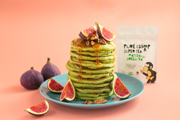 vegan matcha pancakes with figs, maple syrup  & pecan nuts