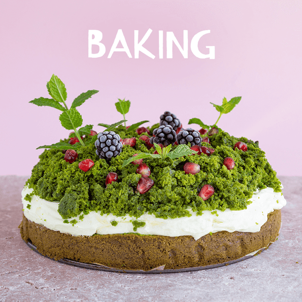 matcha green tea cake with white text stating baking