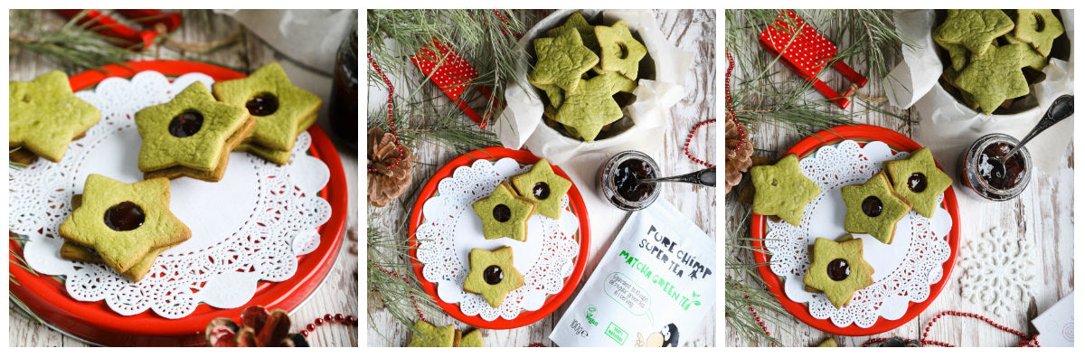 matcha christmas cookies collage