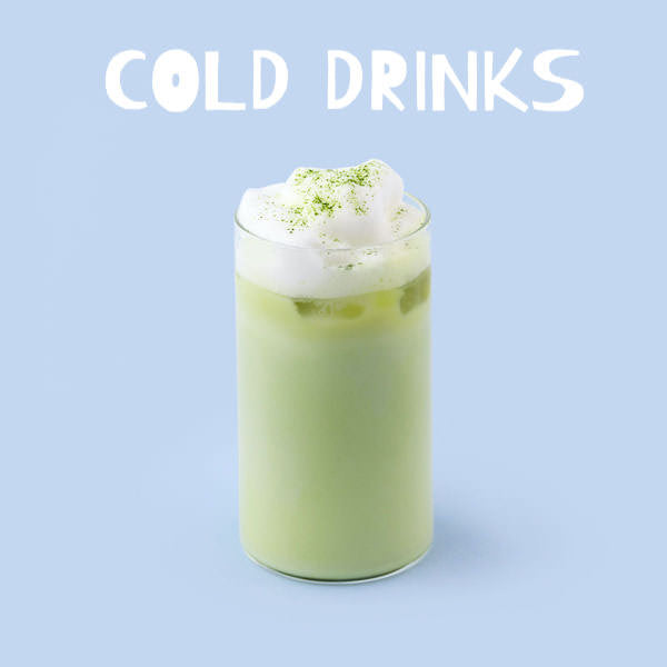 matcha green tea frappuccino with white text stating cold drinks