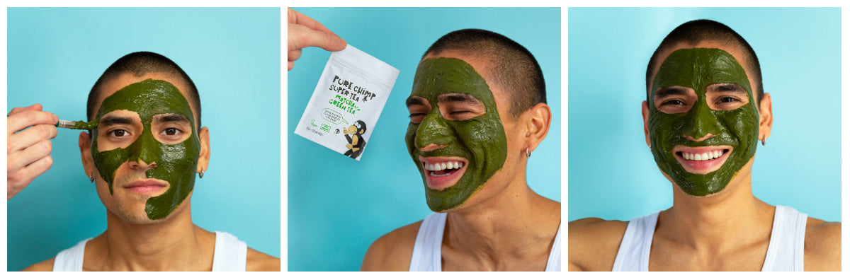 detox matcha face mask collage