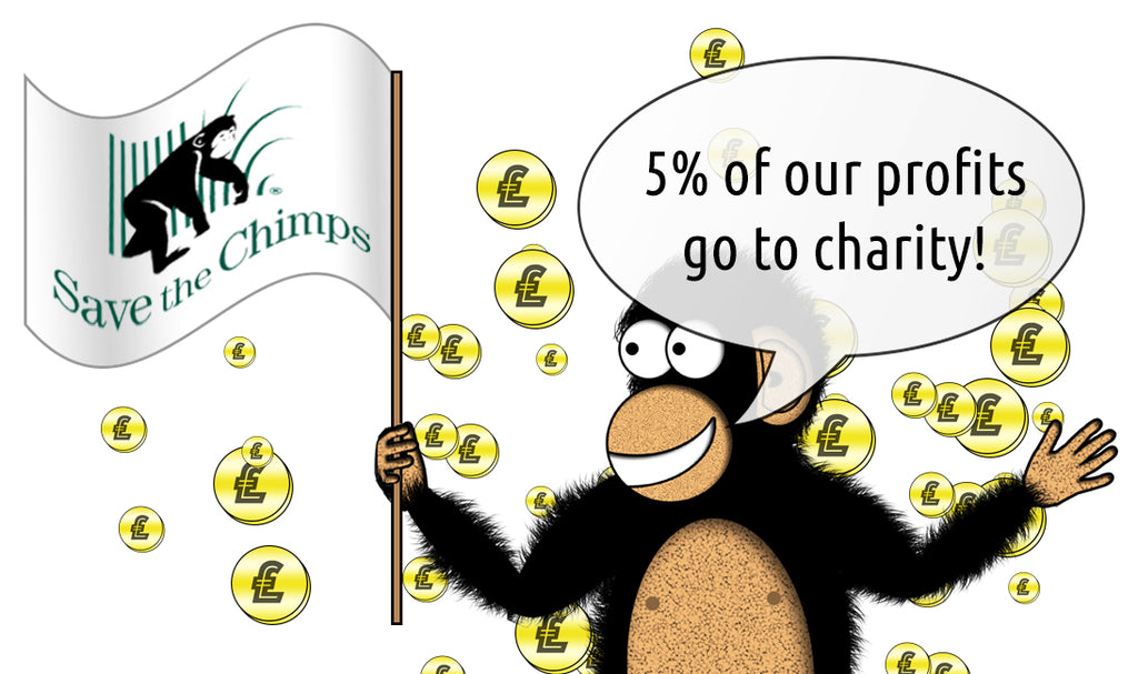purechimp mascot waving a save the chimps charity flag with coins in the background
