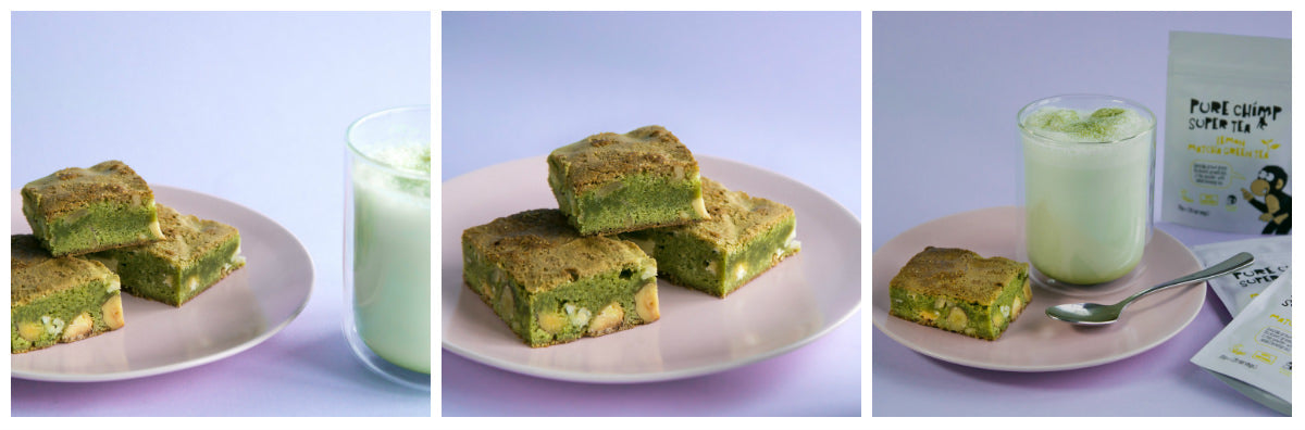 lemon matcha blondies collage images