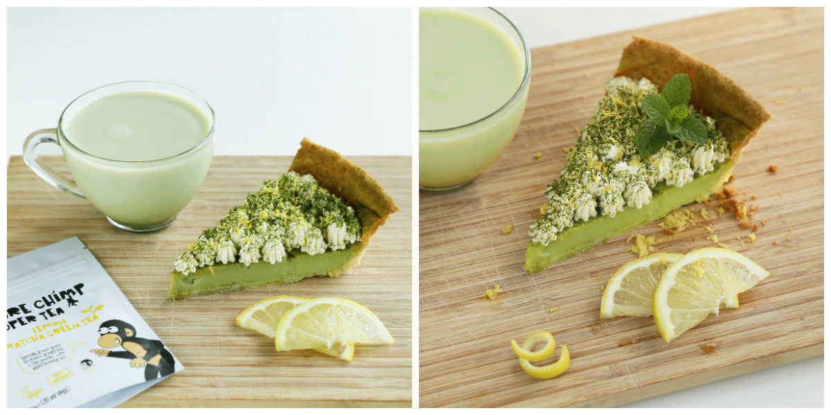 lemon matcha tart collage