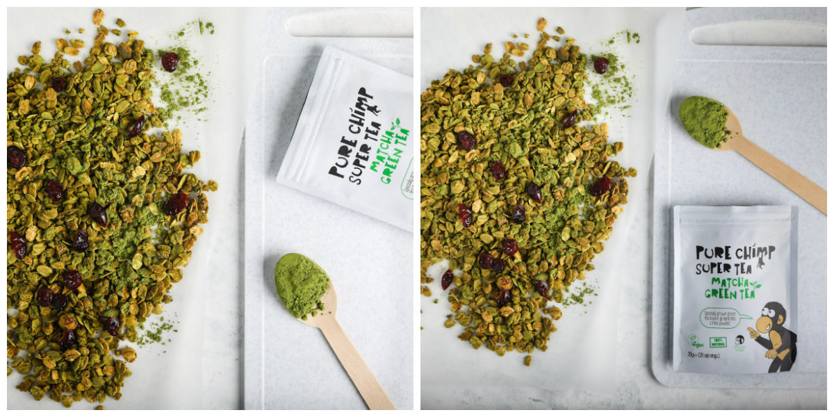 matcha granola collage
