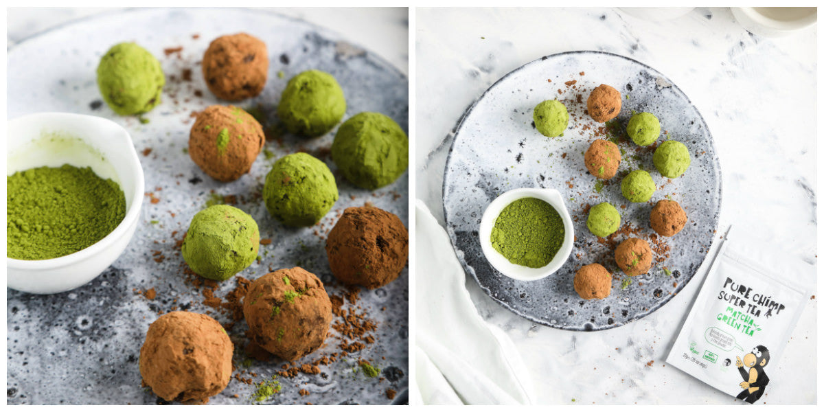 matcha avocado chocolate truffles collage