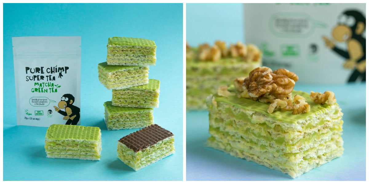 matcha wafer cakes collage