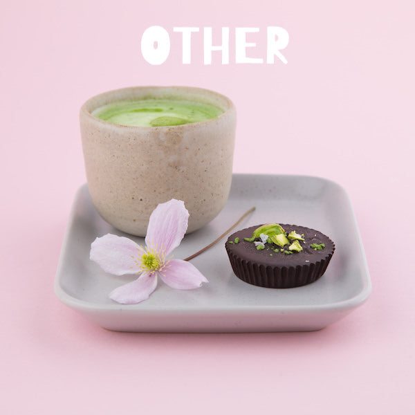 matcha green tea truffles with white text stating other