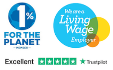 living wage and 1 percent for planet logo