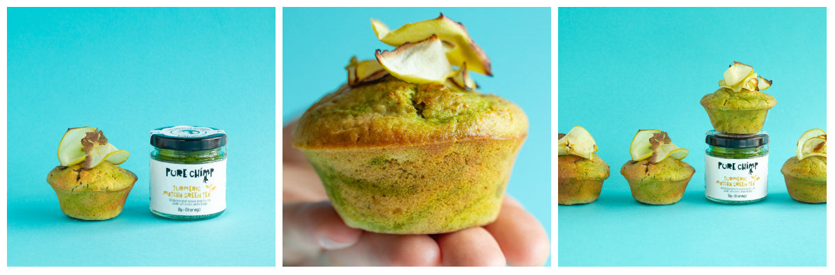 matcha tofu muffins collage